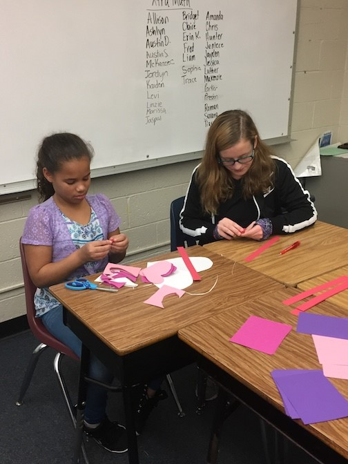 students making valentines